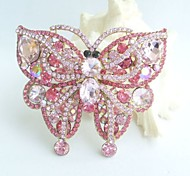 Gorgeous 3.74 Inch Gold-tone Pink Rhinestone Crystal Butterfly Brooch Pendant Art Deco