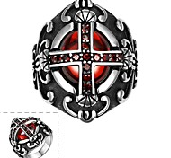 Fashion Individual Men's Red Cubic Zirconia Cross Stainless Steel Ring(Black)(1Pc)