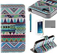 triangolo motivo tribale pu custodia in pelle cocco fun® con la protezione dello schermo e il cavo usb e lo stilo per iPhone 5 / 5s