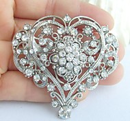 Wedding 2.17 Inch Silver-tone Clear Rhinestone Crystal Bridal Brooch Wedding Deco Bridal Bouquet Love Heart Brooch