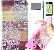Coco fun® de madeira padrão de flor de couro pu caso de corpo inteiro com o filme e cabo usb e stylus para iphone 5c