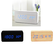 Blue Light USB Dual-Screen Rectangular Wooden LED Clock