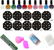 10Pcs Nail Art Stamp Image Plates + Stamper & Scraper + 10 Colors Printing Oil Tools Set