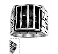 Individual Simple No Decorative Stone Men's Cross Prison Skull Stainless Steel Ring(Black)(1Pc)