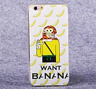 TPU acrílico patrón del mono del plátano cubierta suave para el iphone 6 más