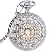 Men's Exquisite Carving Design Zinc Alloy Analog Mechanical Pocket Watch Silver