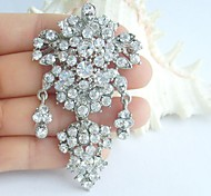 2.95 Inch Silver-tone Clear Rhinestone Crystal Bridal Brooch Pendant Wedding Decorations