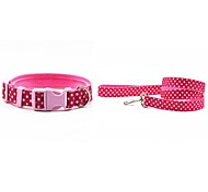 Cat Dog Collar Leash Adjustable/Retractable Polka Dots Pink Orange Nylon