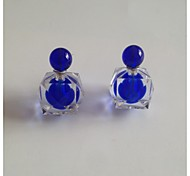 Candy Colour Transparent Double Beads Big Pearl CC Earring Stud
