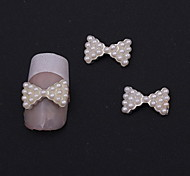 Fashion Wedding Finger Nail Jewelry Alloy/Imitation-pearl Bow Nail Stickers 10pcs