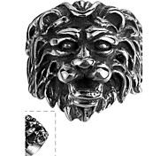 Maya Classical Individual Delicate Old Lion Head Stainless Steel Man Ring(Black)(1Pcs)