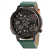 Men's Military Design Fashion Black Dial Fabric Band Quartz Wrist Watch