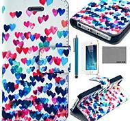 coco fun® colorati cuore del modello pu custodia in pelle con la protezione dello schermo e il cavo usb e lo stilo per iPhone 5 / 5s