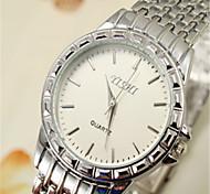 Hommes Montre Bracelet Quartz Alliage Bande Blanc Marron Blanc