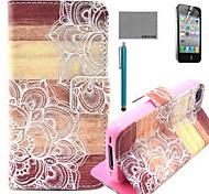 motif de fleur en bois le cas en cuir PU de coco avec protecteur d'écran et un câble USB et un stylet pour iPhone 4 / 4S