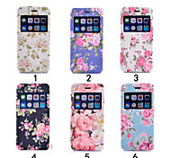 Colourful Flower Ultra Thin View Window Flip Cover PU Leather Case for iPhone 6(Assorted Colors)
