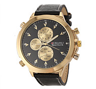 Men's Military Design Fashion Gold Case Leather Band Quartz Wrist Watch