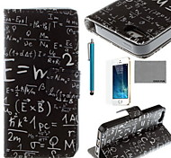 COCO FUN® Maths Formula Pattern PU Leather Case with Screen Protector and USB Cable and Stylus for iPhone 5/5S