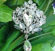 Wedding 3.54 Inch Silver-tone Clear Rhinestone Crystal Drop Flower Brooch Pendant Art Deco