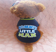 Holdhoney Deep Blue And Green Letters In The Middle Cotton T-Shirt For Pets Dogs (Assorted Sizes) #LT15050255