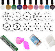 Stainless Steel Nail At Template Stamping Image Plates Set Nail Polish Stamp Stamper Scraper Manicure Tools (24Pcs/Set)