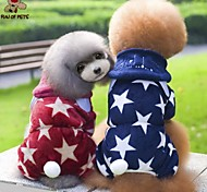Dog Hoodie Clothes/Jumpsuit Red Blue Dog Clothes Winter Spring/Fall Stars Cute Casual/Daily