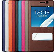 uwei carteira de couro da vaca caso de corpo inteiro dormência inteligente e suporte para Samsung Galaxy note2