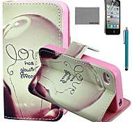 COCO FUN® Love Lamp Pattern PU Leather Case with Screen Protector and USB Cable and Stylus for iPhone 4/4S