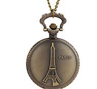 Femme Montre de Poche Quartz Alliage Bande Tour Eiffel Bronze Marque