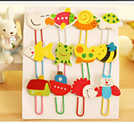 12pcs Cartoon Wooden Note Office Paper Clip School Supplies Study Article(Random Color)