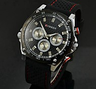 Men's Military Design Casual Watch Quartz Water Resistant Rubber Strap Cool Watch Unique Watch