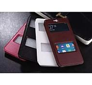 For HTC Case with Stand / with Windows / Flip Case Full Body Case Solid Color Hard PU Leather HTC