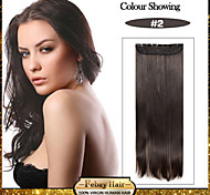 5 Clips Long Straight Dark Brown Synthetic Hair Clip In Hair Extensions For Ladies