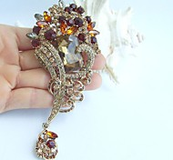 4.72 Inch Gold-tone Topaz Rhinestone Crystal Flower Brooch Pendant Art Decorations