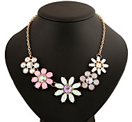 Fashion Colorful Crystal Handmade Flower Necklace