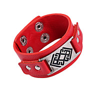Punk Style PU Leather Foreign Trade Bracelet(Black,Red)(1Pc)