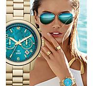 Women's Fashion Geneva Quartz Watch Blue Dial Steel Strap
