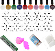 Professional 10Pcs Nail Art Stamp Image Plates + Stamper & Scraper + 10 Colors Stamping Special Polish