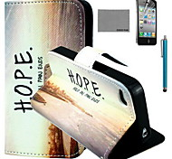 COCO FUN® Horizontal Sunset Pattern PU Leather Case with Screen Protector and USB Cable and Stylus for iPhone 4/4S