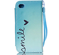 Smile Pattern PU Leather Free movement Wallet with Card Slot and Screen Protector for iPhone 4/4S