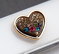 Heart Colorful Zircon Home Button Sticker for iPhone