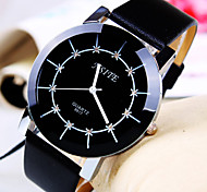 Men's Business Personality Trend Round Diamond Dial PC Movement Leather Strap Fashion Quartz Watch (Assorted Colors)