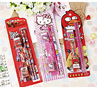 7 In 1 Cartoon Stationery Set(Encil+Eraser+Ruler+Sharpener)(Random Color)