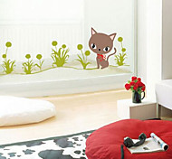 Multifunction DIY PVC Grass and Kittens Pattern Decorative Stickers