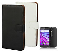 Solid color Stylish Genuine Leather Flip Cover Wallet Card Slot Case with Stand for MOTO G3
