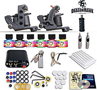 Complete Tattoo Kit 2 Machines Gun 6 Color Inks Power Supply Needles Set