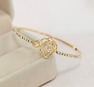 Lucky Doll Women's All Matching Gold Cut Out Rose Open Bracelet