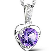 Woman Amethyst Heart-shaped Silver Necklace