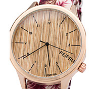 European Style Wood Grain Fashion Ladies Watch Canvas Quartz Watch