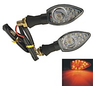 2 Pcs Plastic Housing Yellow 12+1 SMD LED Turn Signal Light Lamps for Motorbike
